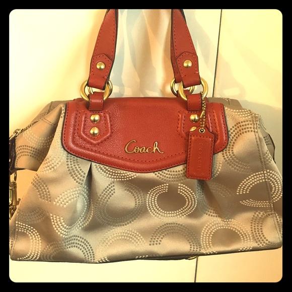 Coach Handbags - Cream and orange coach purse